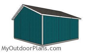 24x24 Garage Plans - Back view