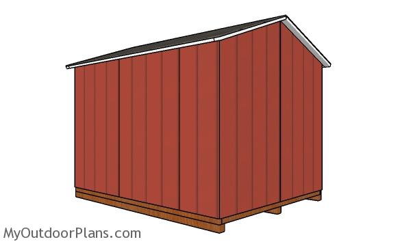 8x10 Cheap Shed Plans - back view