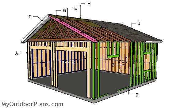24x24 Detached Garage Roof Plans