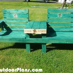 Large Double Chair Bench with Table