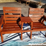 Big Double Chair Bench with Table