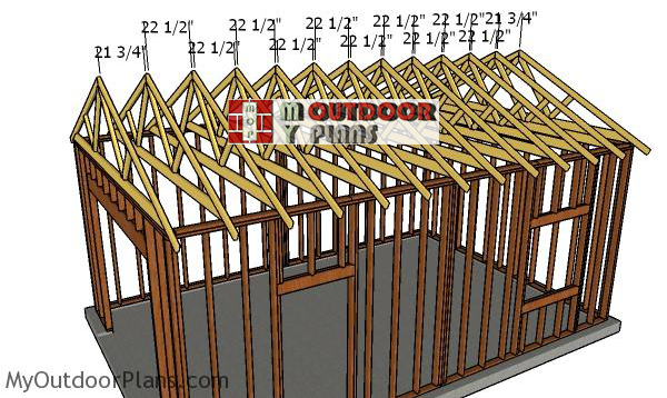 Fitting-the-trusses-one-car-garage
