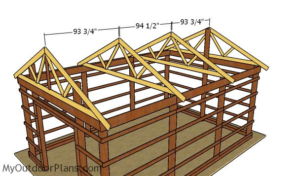 Fitting the trusses - 16x24 Pole Barn DIY
