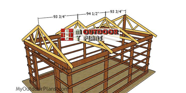 Fitting-the-trusses-16x24-pole-barn