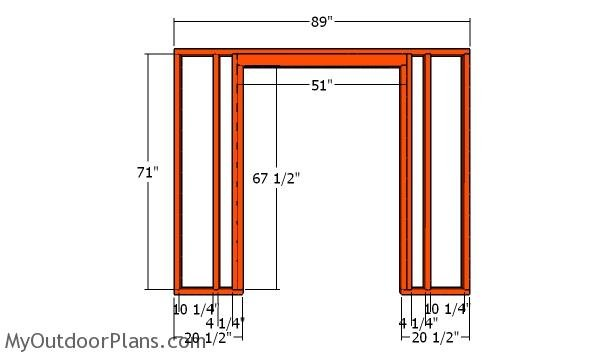 Front wall frame - DIY 8x10 Shed