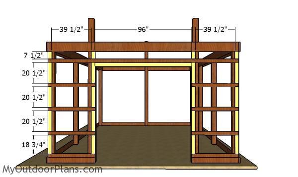 Front wall girt blockers - 16x24 pole barn