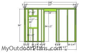 Side wall with door frame - 12x12 Barn Shed