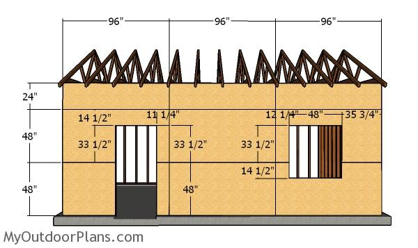 Side wall with window - 16x24 Detached Garage Plans