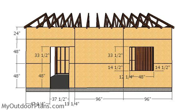 Side wall with window sheets - Double Car Garage Plans