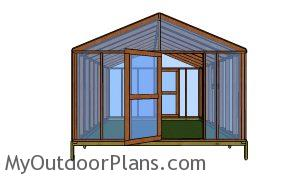12x16 greenhouse plans - front view