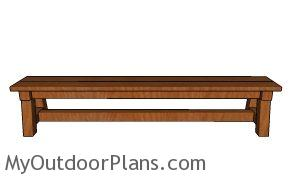 8 ft Wedding Bench Plans - front view