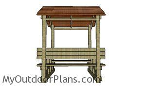 Covered Picnic Table Plans - side view