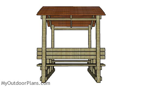 Covered Picnic Table Plans Side View