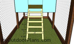 Fitting the ladder steps - chicken tractor