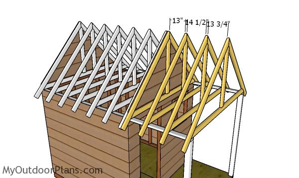 Fitting the trusses to the porch