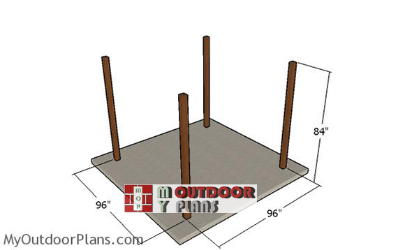 Laying-out-the-posts---grill-gazebo