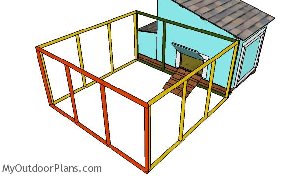 Assembling the frame of the chicken run