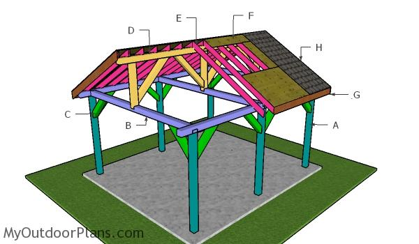 16x18 Pavilion - Gable Roof Plans