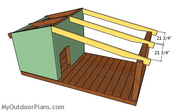 Fitting the porch rafters - Dog house plans