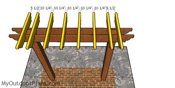 Fitting the rafters to the pergola bar