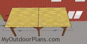 Fitting the slats to the top of the pergola cover