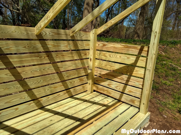 Fitting-the-wall-slats---firewood-shed