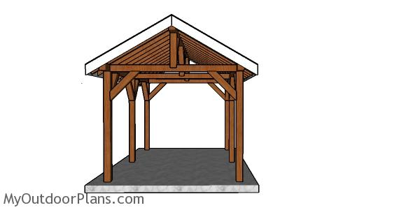 10×16 Outdoor Pavilion Roof Plans
