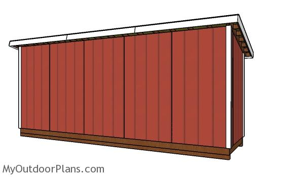 5x20 Shed Plans - back view