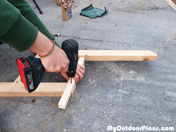 Attaching-the-seat-supports---diy-garden-bench