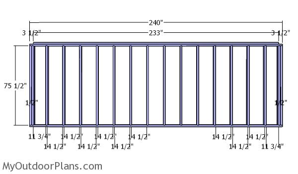 Back wall frame - 5x20 shed