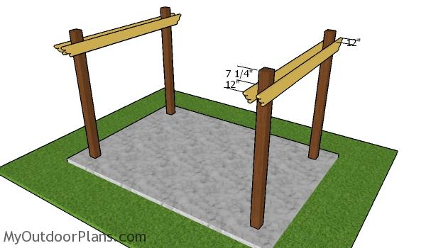 Fitting the base beams - 8x12 Patio Pergola