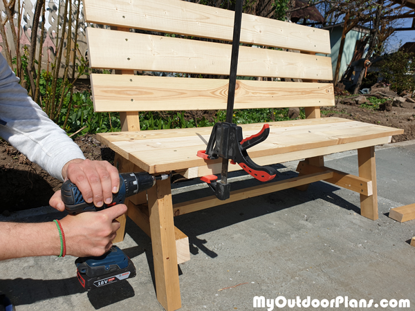 Fitting-the-front-trim---diy-outdoor-bench