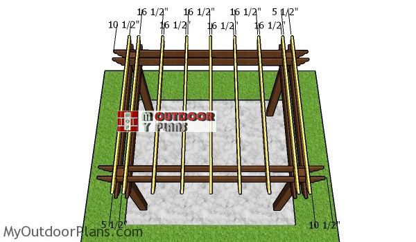 Fitting-the-rafters-to-the-8x10-pergola