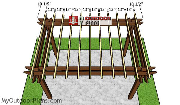 Fitting-the-rafters-to-the-8x12-pergola