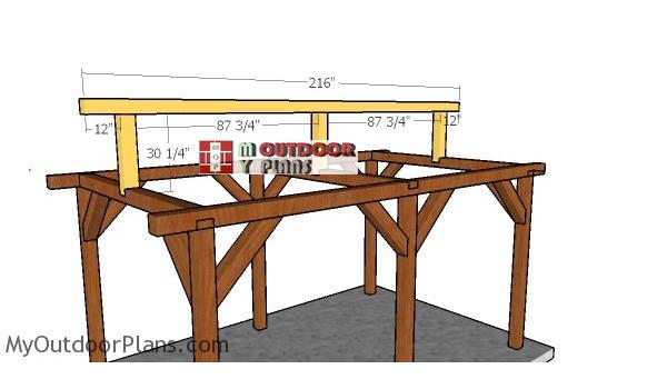 Fitting-the-ridge-beam---gable-pavilion