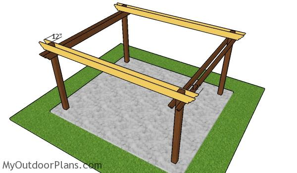 Fitting the support beams - 12x14 Pergola