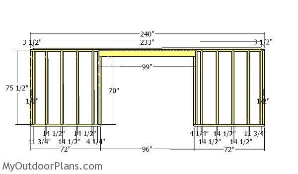 Front wall frame - 5x20 shed