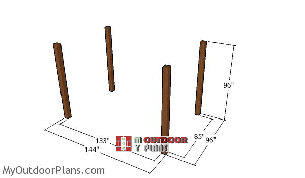 Laying-out-the-posts-for-the-8x12-pergola