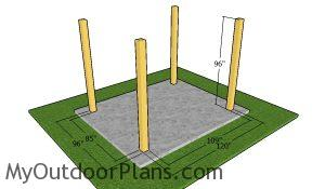 Laying out the pergola posts - 8x10