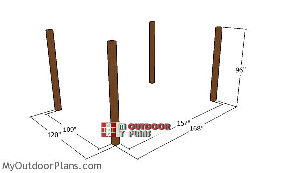 Laying-out-the-posts-for-the-12x14-pergola