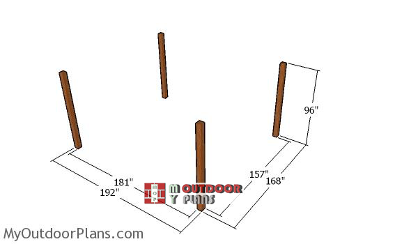 Laying-out-the-posts-for-the-14x16-pergola