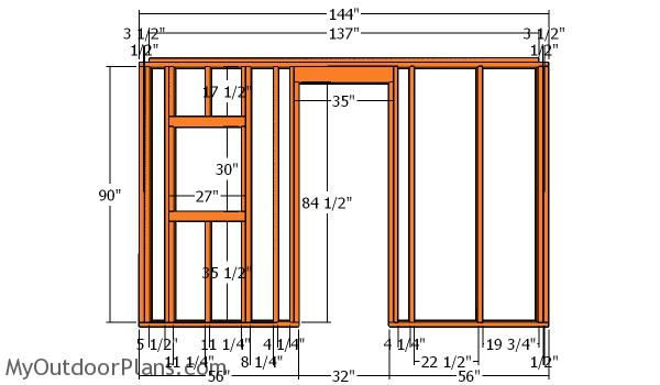 Side wall with door frame - Shed 12x12