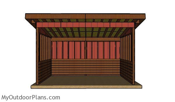 10x16 run in shed plans - Front view