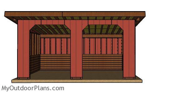 10x20 run in shed plans - Front view