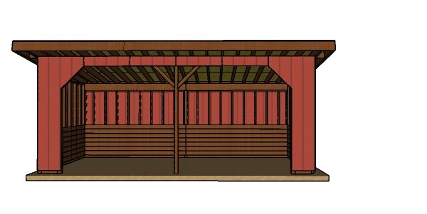 10x24 run in shed plans - Front view
