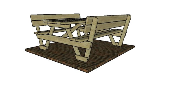 6' Picnic Table with Backrests Plans