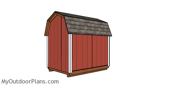 6x8 Gambrel Shed Plans Back view