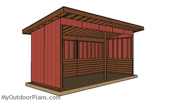 8x20 Run in shed plans - Front view