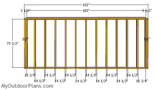 Back wall frame - 5x16 shed