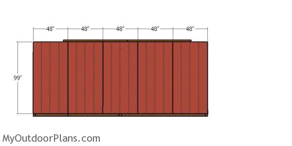 Back wall siding sheets - 10x20 run in shed